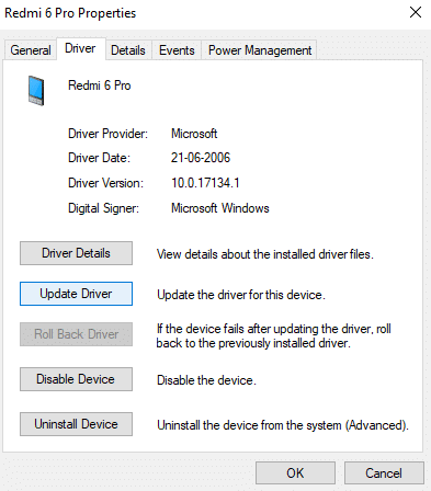 Under driver tab, click on Update driver