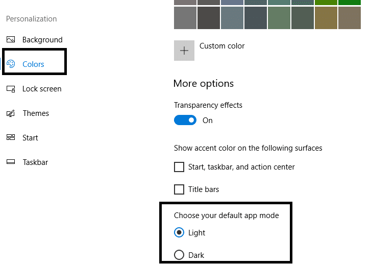 Under the personalization category, select the colors option