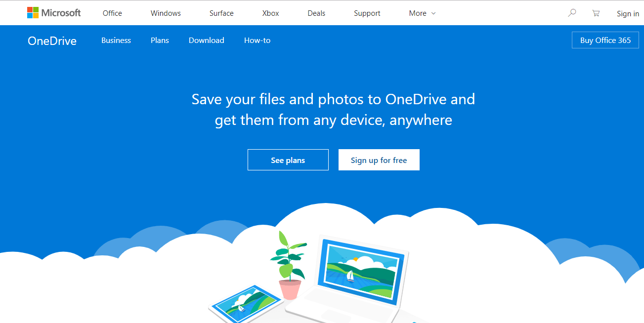 Visit OneDrive.com using web browser