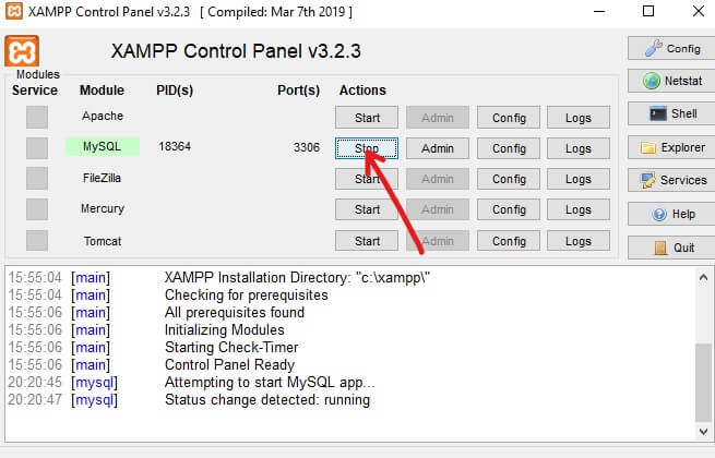 Want to stop MySQL from running, click on the Stop button   Install And Configure XAMPP on Windows 10