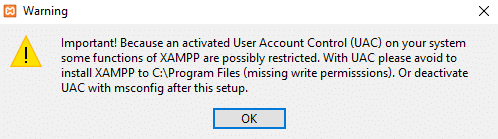 Warning dialog box will appear. Click on the OK button to continue