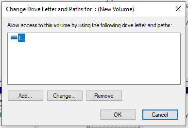 click on 'Add' to add drive letter. Otherwise, click on 'Change' to change the drive letter