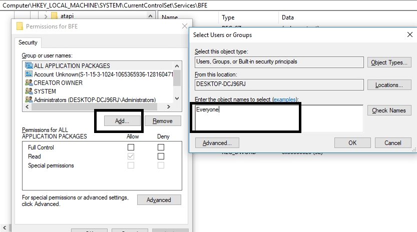 Click on Add and type Everyone | Fix Can'tturn on Windows Firewall