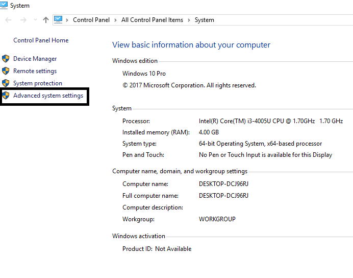 Click on Advanced System Settings One the left panel | Fix Page Fault In Nonpaged Area Error