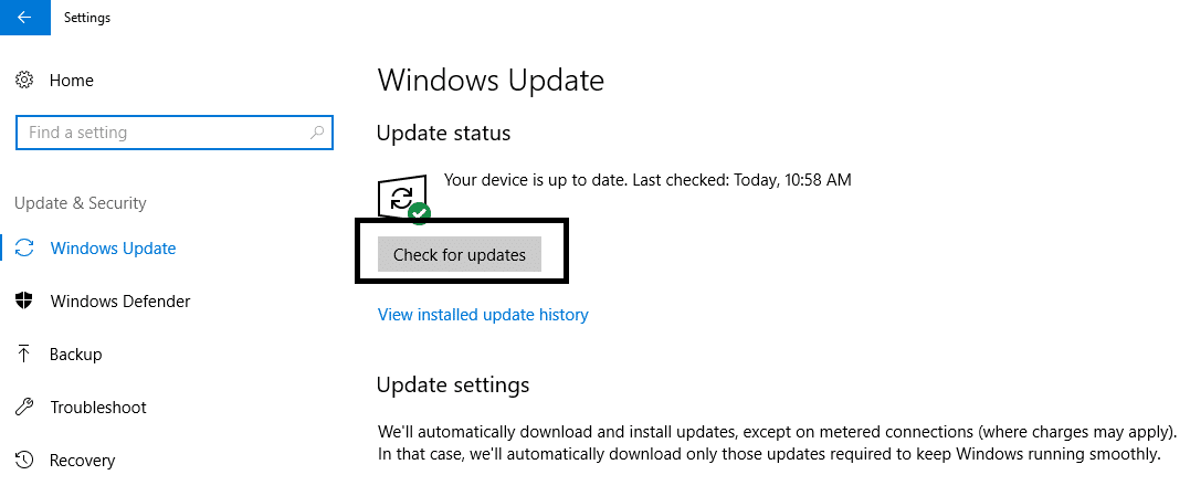 Click on Check for Updates button