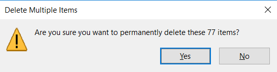 Click on OK and all the files will be deleted from your system