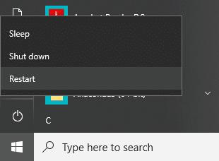 Click on Restart and your computer will restart itself | Fix uTorrent Not Responding in Windows 10