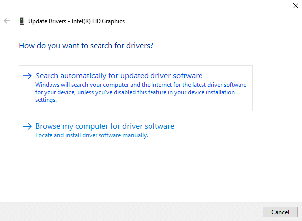 Click on Search automatically for updated driver software | Fix Minecraft Crashing Issues