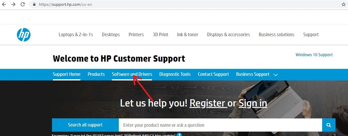 Click on Software and Drivers under your manufacturers website