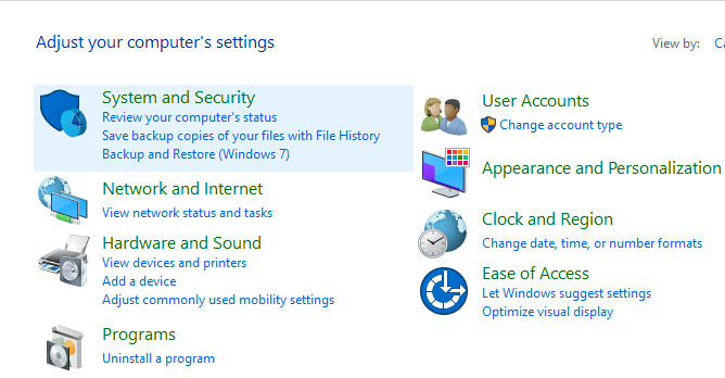 Click on System and Security