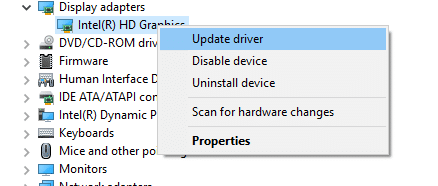 Click on Update driver