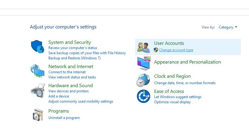 Click on User Accounts folder