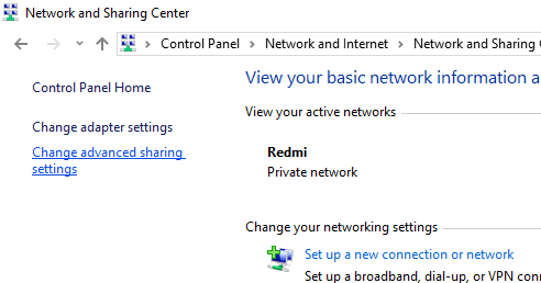 """Click on link """"Change advanced sharing settings"""" on the left panel"""