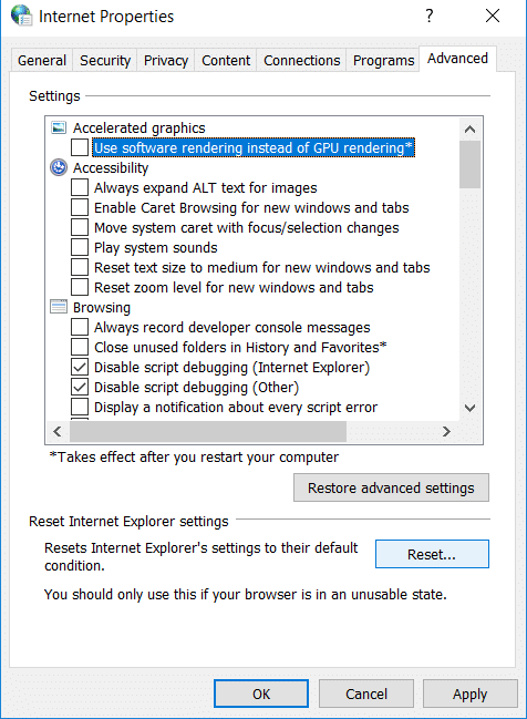 Click on the Reset button present in the window | Fix Internet Explorer has stopped working error