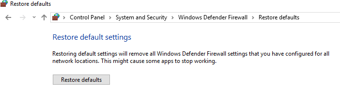 Click on the Restore Defaults button | Fix Unable to Activate Windows Defender Firewall