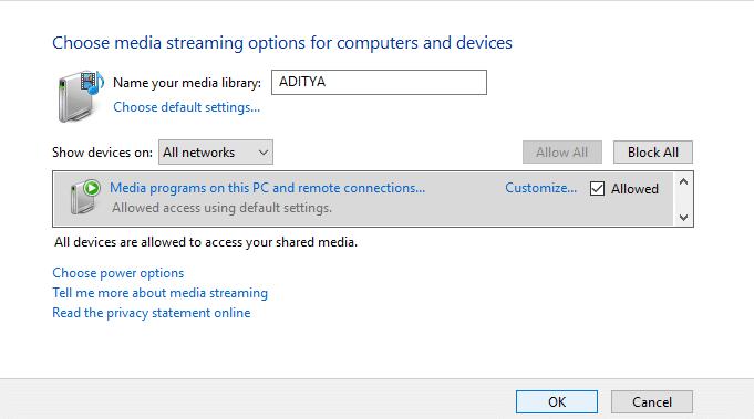 Enable DLNA Server on Windows 10