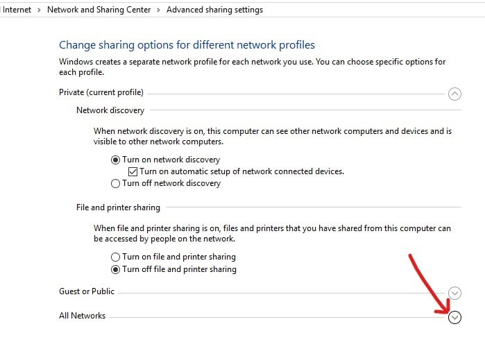 Expand All Network section by clicking on downwards arrow next to   Enable DLNA Server on Windows 10