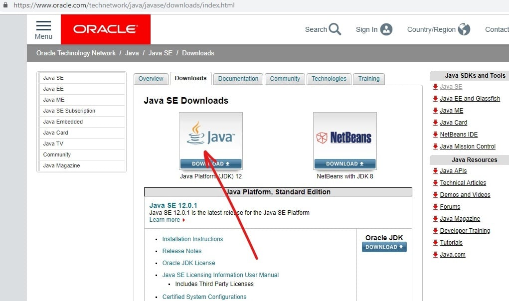 Go to the official website of java and click on download java