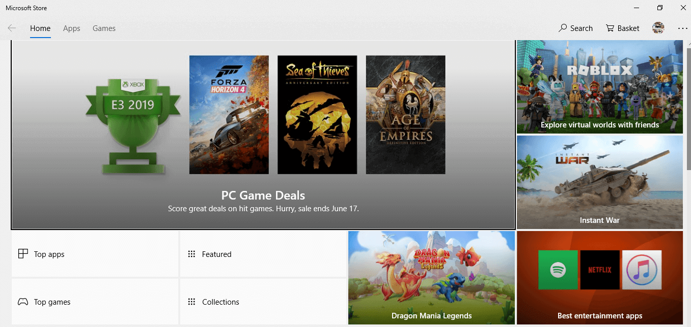 Hit the enter button at the top result and Microsoft store will open up