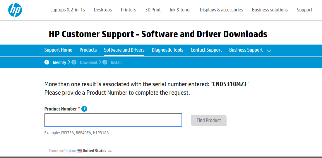 If more than one device is associated with entered Serial number then enter Product Number