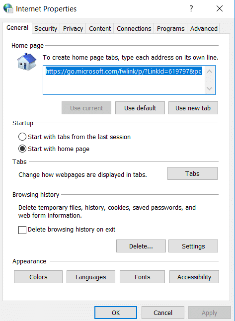 In the new window of Internet Options select the advanced tab | Fix Internet Explorer has stopped working error