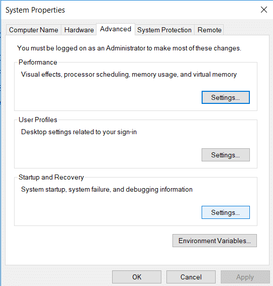 In the new window under Startup and Recovery click on Settings