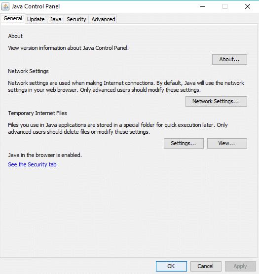 Java Control panel dialog box will open up | Fix Minecraft Crashing Issues on Windows 10