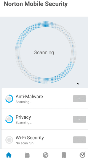 Norton antivirus will start scanning