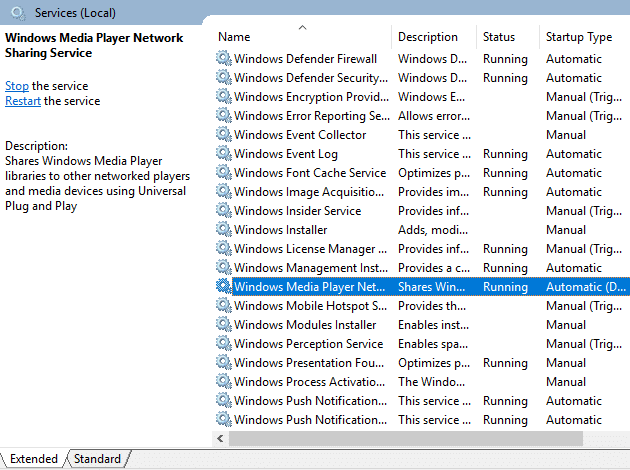 """Open """"Windows Media Player Network sharing Services"""""""