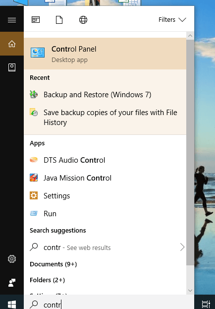 Open Control Panel by searching in search bar