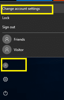 Open Start Menu, Click on user icon and select change account settings