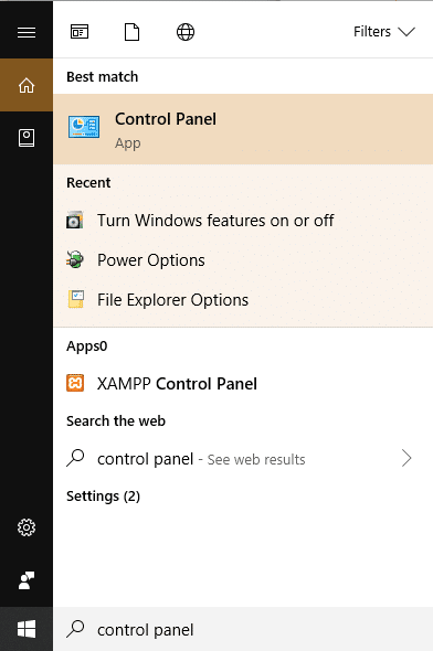 Open the control panel by searching for it using search bar