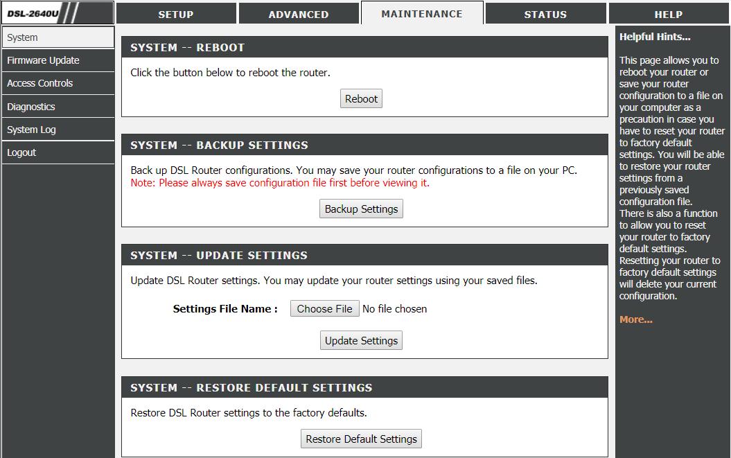 Reboot & Restore Router Settings