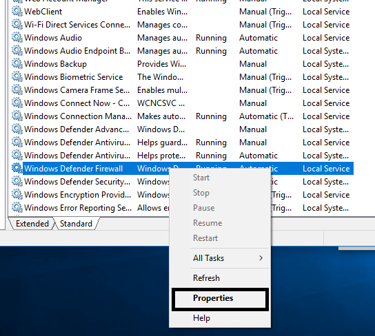 Right Click on Windows Defender and choose Properties | Fix Unable to Activate Windows Defender Firewall