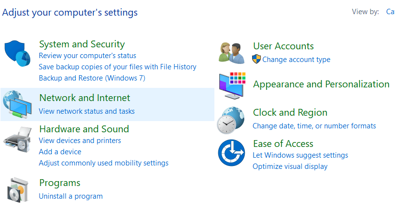 Select Network and Internet from the control panel window