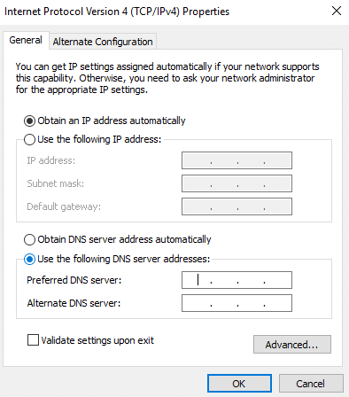 """Select Use the following DNS server addresses, enter the address of DNS server and click """"OK"""""""