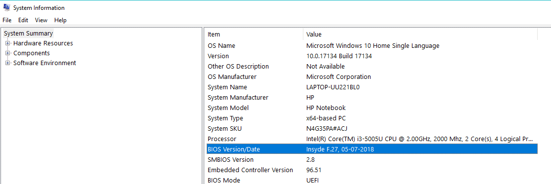 System Information folder will open up and check the BIOS version of your PC