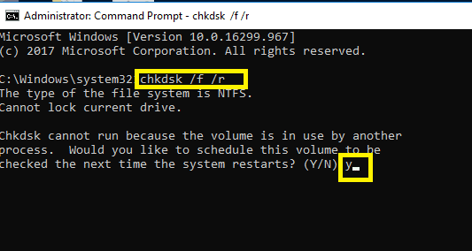 To Check Hard Drive for errors type the command in the command prompt | Fix Page Fault In Nonpaged Area Error