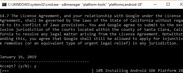 Type y to begin installing Android SKD command line tool