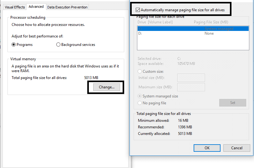 """Uncheck the """"Automatically manage paging file size for all drives"""", box"""