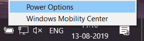 Right-click on the Power icon and select Power Options