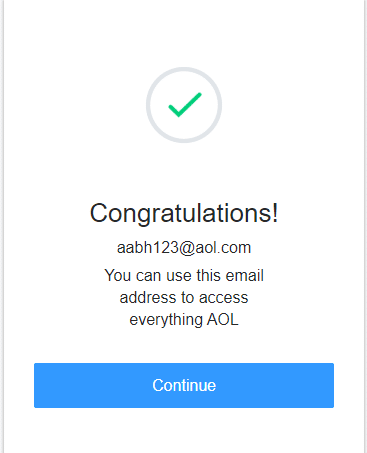 Account created and click on the continue button