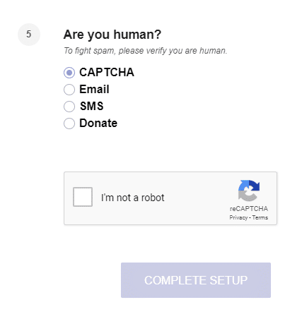 Check the box I'm not a robot and click on Complete Setup