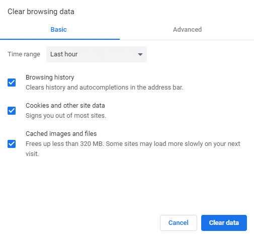 Clear browsing data dialog box will open up