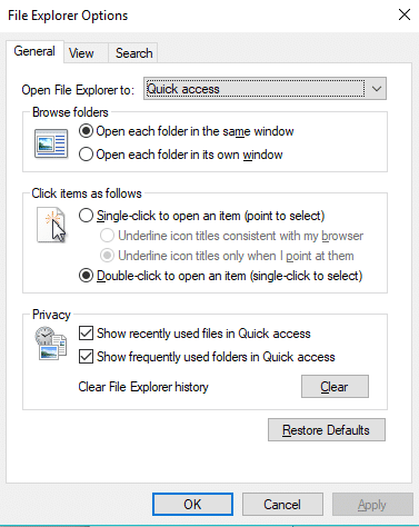 Click on OK and File Explorer Options dialog box will appear