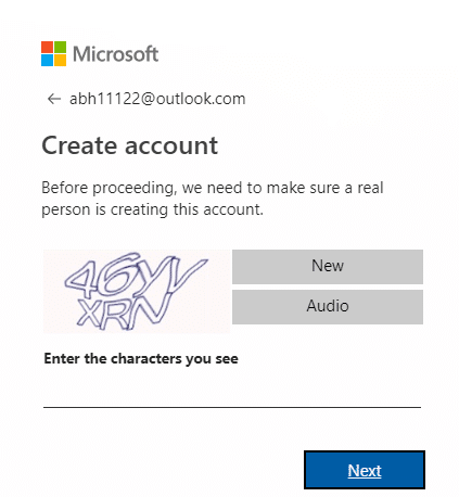 Enter the given characters to verify the Captcha and click on Next