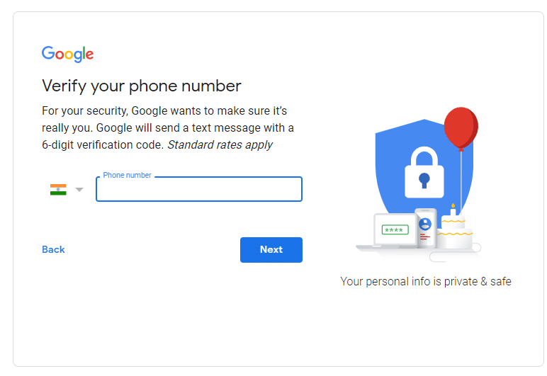 Enter your Phone Number and click on Next