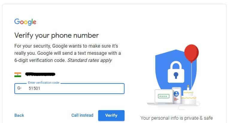 Get a verification code on your entered phone number. Enter it and click on Verify