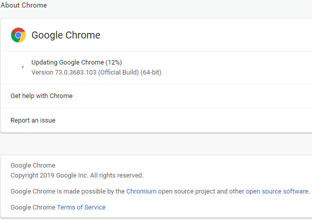 If there is any update available, Google Chrome will start updating