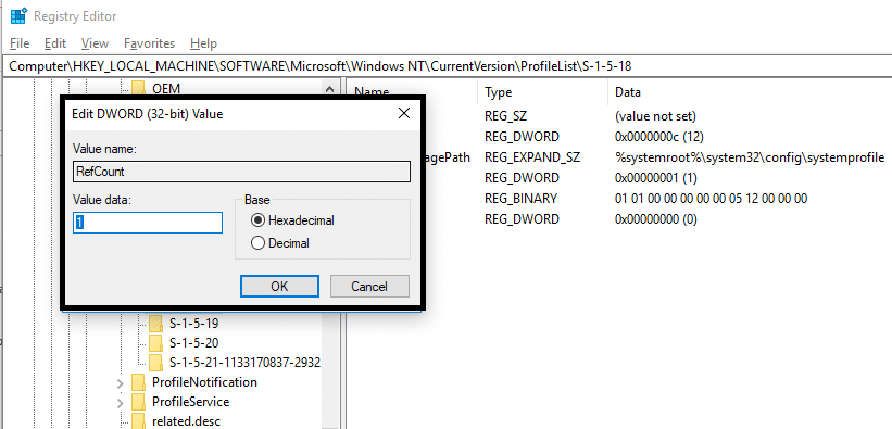 Need to double click on RefCount and change the value from 1 to 0